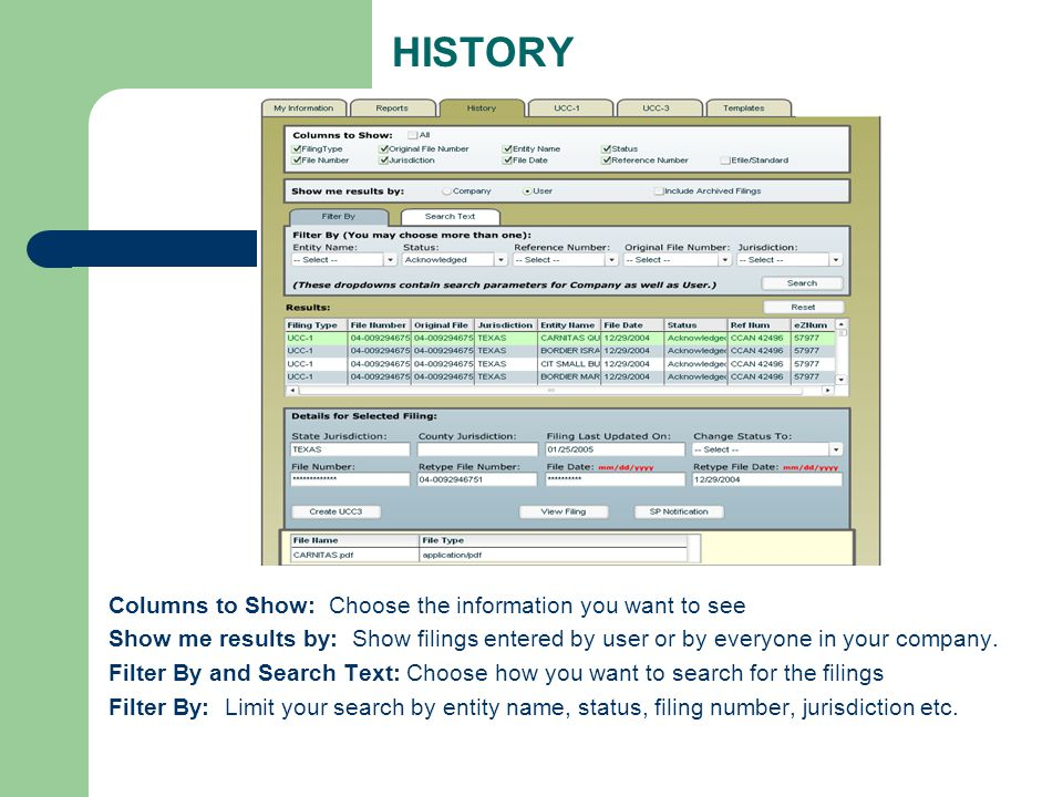 HISTORY Columns to Show: Choose the information you want to see Show me results by: Show filings entered by user or by everyone in your company.