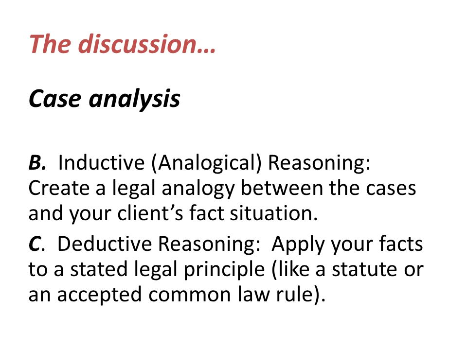 The discussion… Case analysis B.