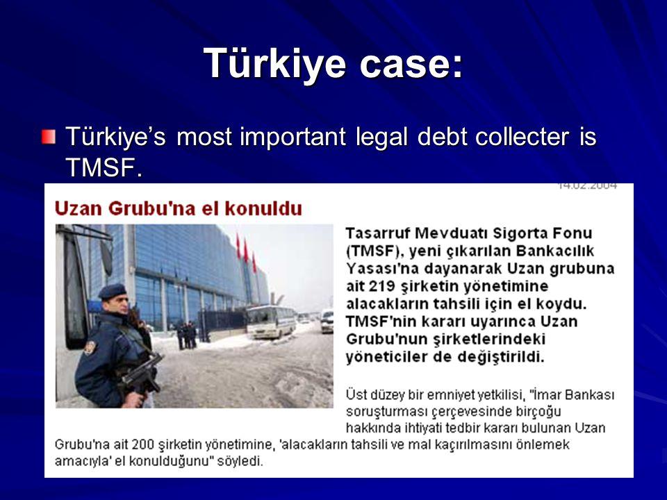Türkiye case: Türkiye's most important legal debt collecter is TMSF.