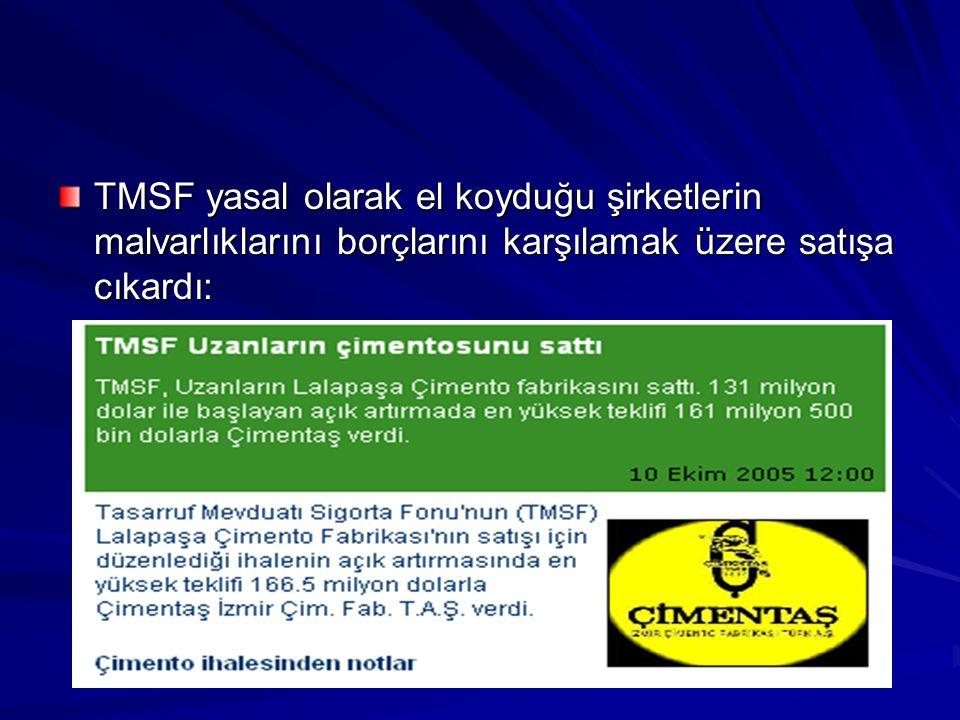 TMSF yasal olarak el koyduğu şirketlerin malvarlıklarını borçlarını karşılamak üzere satışa cıkardı:
