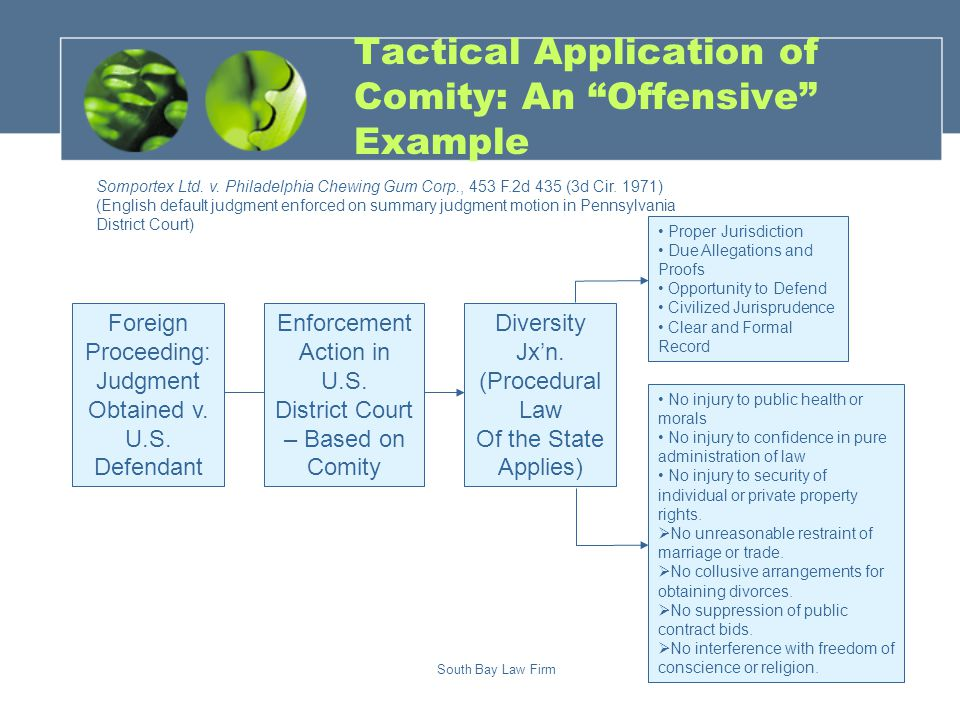 South Bay Law Firm Tactical Application of Comity: An Offensive Example Foreign Proceeding: Judgment Obtained v.