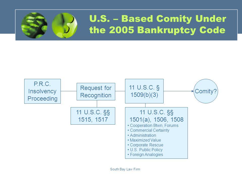 South Bay Law Firm Comity. 11 U.S.C. § 1509(b)(3) P.R.C.