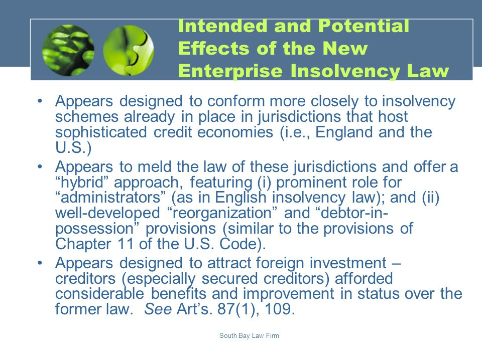South Bay Law Firm Application Accept Notify Debtor Statement of Affairs Notify Creditors Submit Claims Creditors Mtg.
