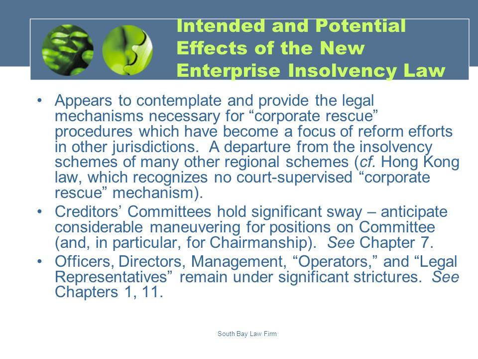 South Bay Law Firm Comparing the Enterprise Insolvency Law v.