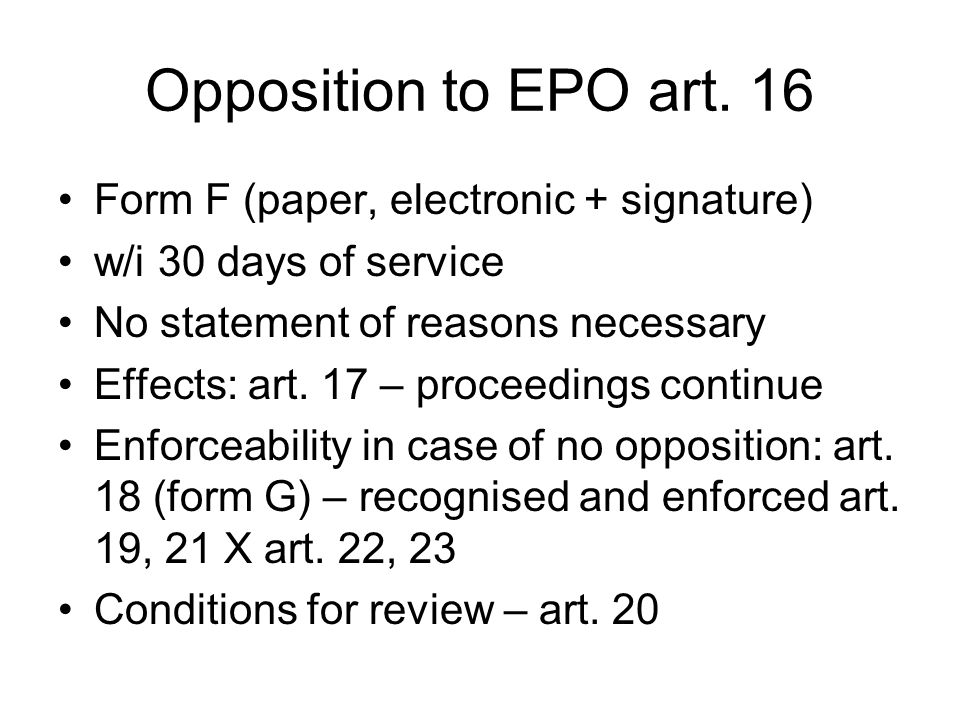 Opposition to EPO art.