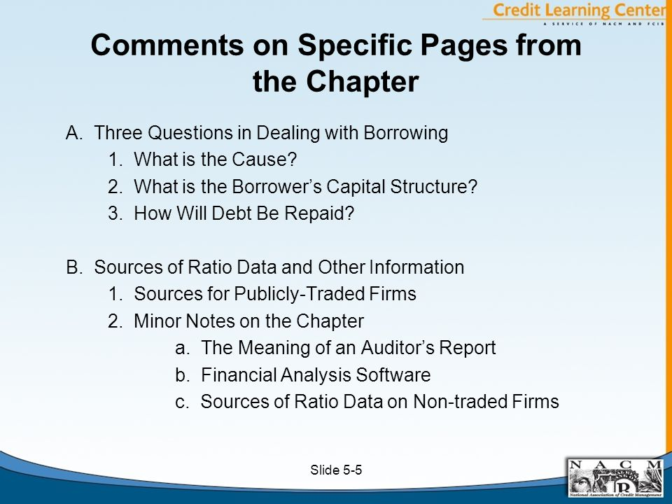 Comments on Specific Pages from the Chapter A. Three Questions in Dealing with Borrowing 1.