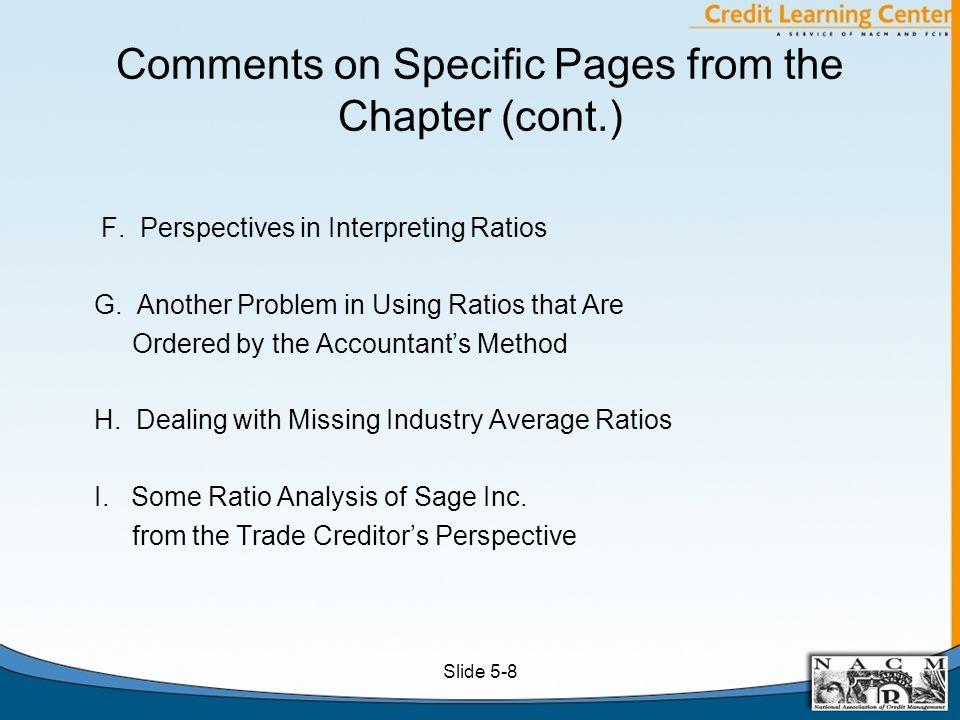 Sage Corporation Comparison of Current and Quick Ratios Slide 5-9