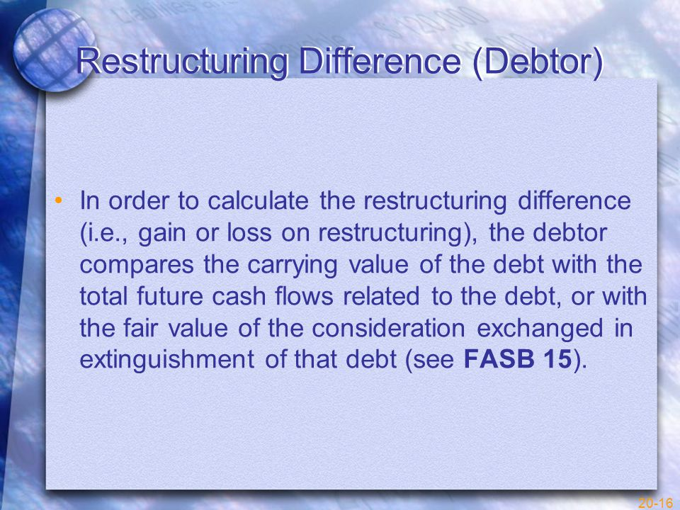 20-16 Restructuring Difference (Debtor) In order to calculate the restructuring difference (i.e., gain or loss on restructuring), the debtor compares the carrying value of the debt with the total future cash flows related to the debt, or with the fair value of the consideration exchanged in extinguishment of that debt (see FASB 15).