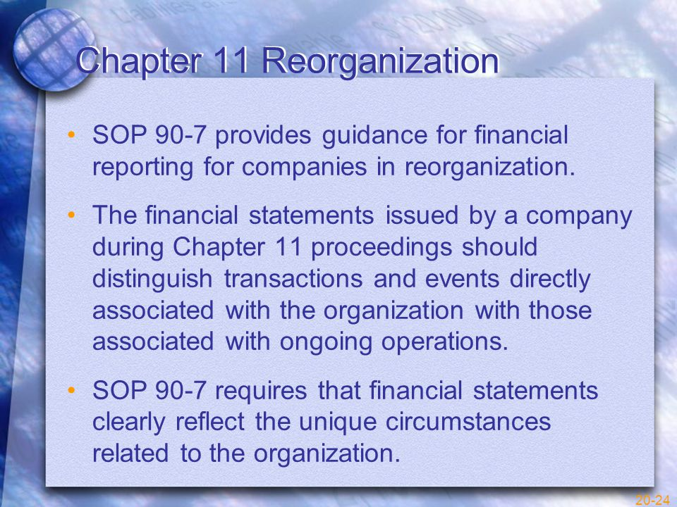 20-24 Chapter 11 Reorganization SOP 90-7 provides guidance for financial reporting for companies in reorganization.