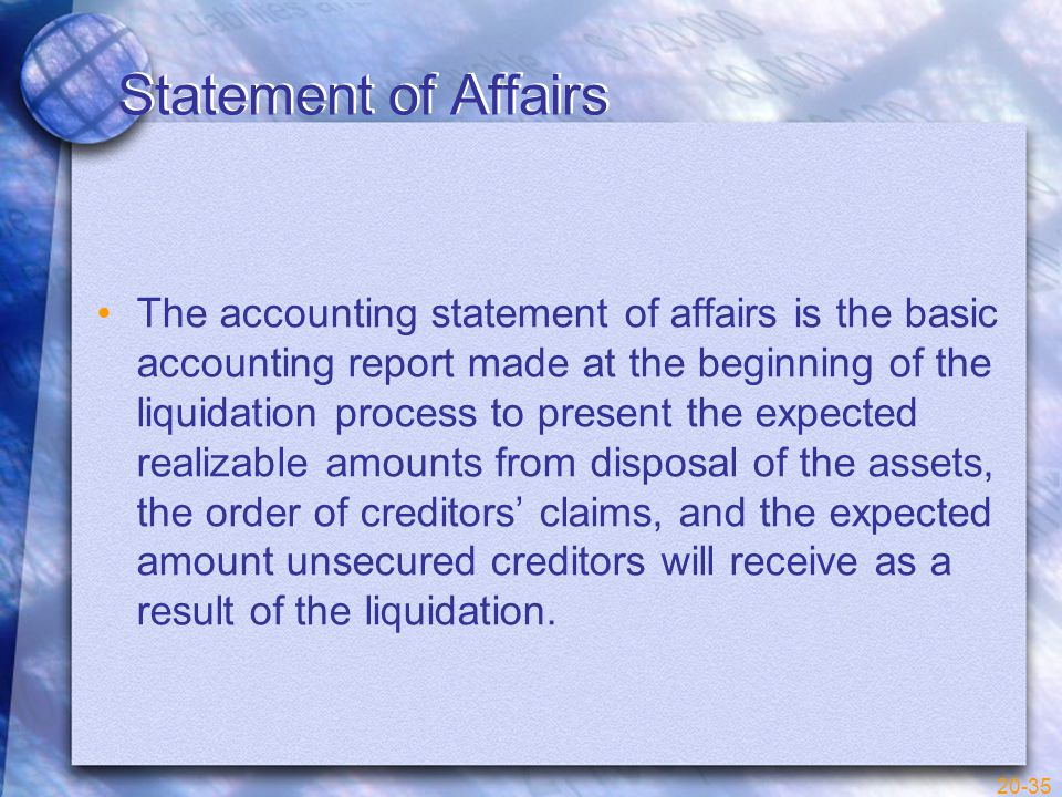 20-35 Statement of Affairs The accounting statement of affairs is the basic accounting report made at the beginning of the liquidation process to present the expected realizable amounts from disposal of the assets, the order of creditors' claims, and the expected amount unsecured creditors will receive as a result of the liquidation.