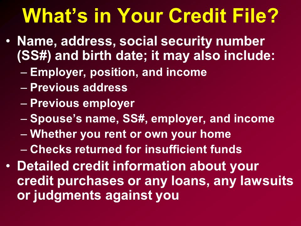What's in Your Credit File.