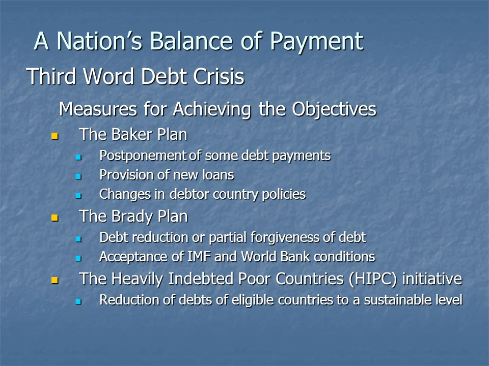A Nation's Balance of Payment Third Word Debt Crisis Measures for Achieving the Objectives The Baker Plan The Baker Plan Postponement of some debt payments Postponement of some debt payments Provision of new loans Provision of new loans Changes in debtor country policies Changes in debtor country policies The Brady Plan The Brady Plan Debt reduction or partial forgiveness of debt Debt reduction or partial forgiveness of debt Acceptance of IMF and World Bank conditions Acceptance of IMF and World Bank conditions The Heavily Indebted Poor Countries (HIPC) initiative The Heavily Indebted Poor Countries (HIPC) initiative Reduction of debts of eligible countries to a sustainable level Reduction of debts of eligible countries to a sustainable level