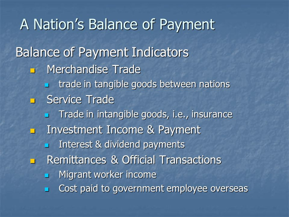 A Nation's Balance of Payment When Balance of Payment Appears It is viewed by realists as a sign of poor competitive performance It is viewed by realists as a sign of poor competitive performance Adjustment measures to be taken: Adjustment measures to be taken: Monetary policy Monetary policy Adjust the volume of money supply Adjust the volume of money supply Central bank limiting public access to loans by raising interest rates, for example Central bank limiting public access to loans by raising interest rates, for example Fiscal policy Fiscal policy Lower government spending Lower government spending Raises taxes to limit purchasing power Raises taxes to limit purchasing power Commercial policy Commercial policy Increase export & decrease import Increase export & decrease import