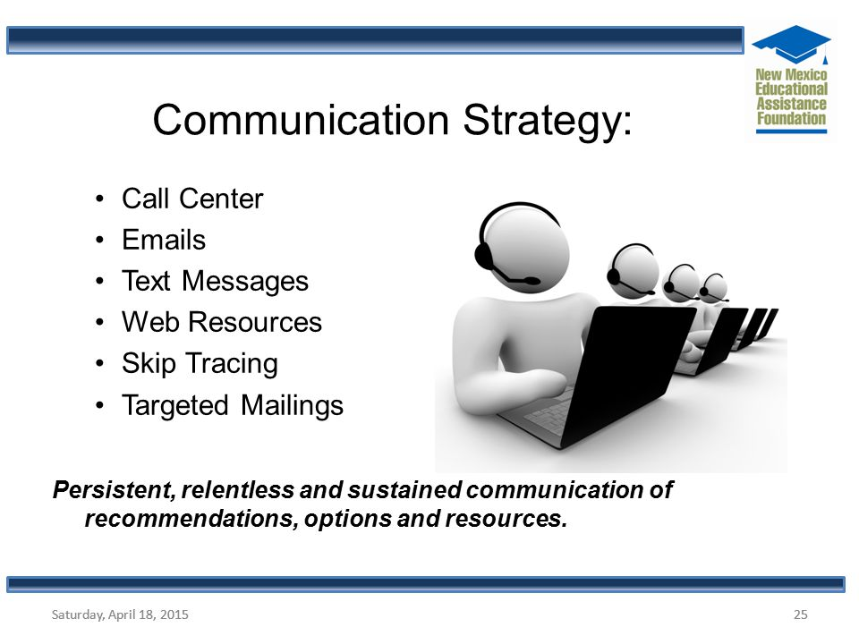 Saturday, April 18, 2015 Call Center Emails Text Messages Web Resources Skip Tracing Targeted Mailings Persistent, relentless and sustained communicat
