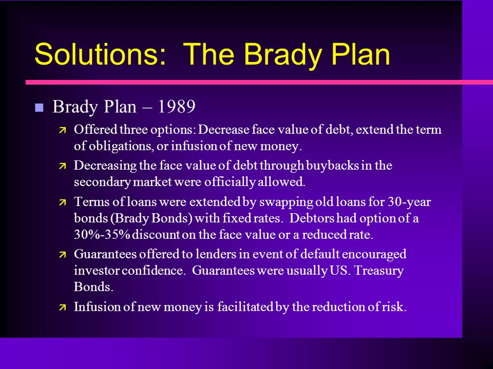 Solutions: The Brady Plan n Brady Plan – 1989 ä Offered three options: Decrease face value of debt, extend the term of obligations, or infusion of new money.