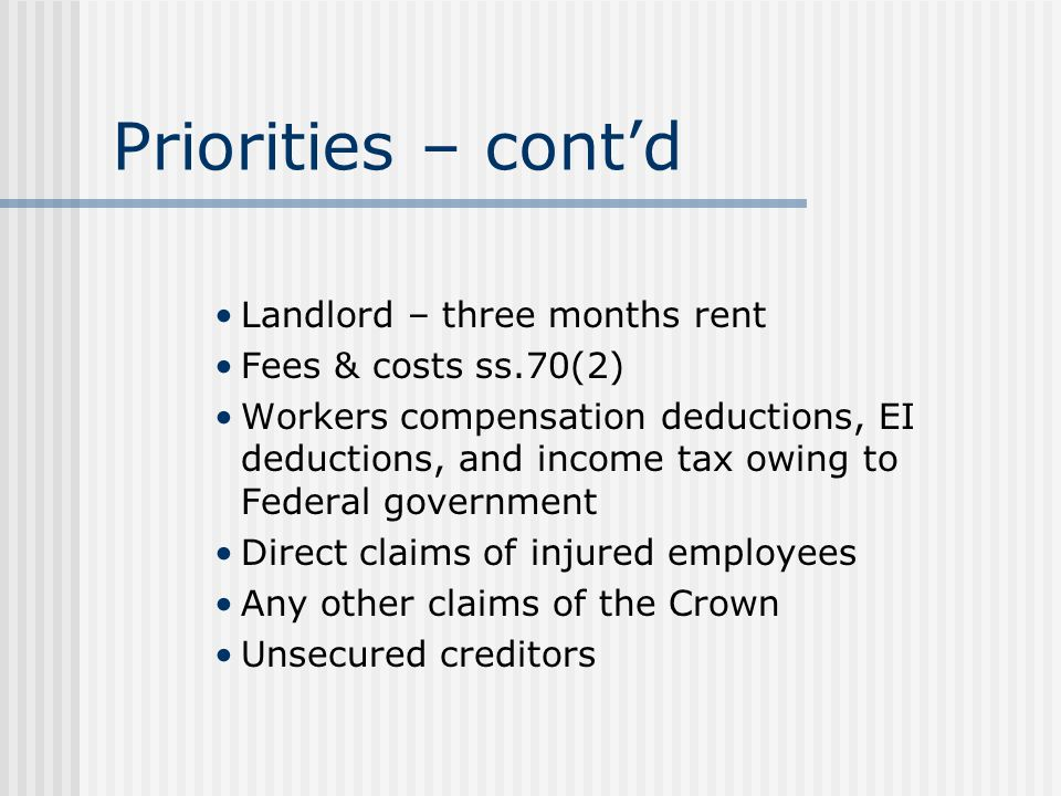 Priorities – cont'd Landlord – three months rent Fees & costs ss.70(2) Workers compensation deductions, EI deductions, and income tax owing to Federal