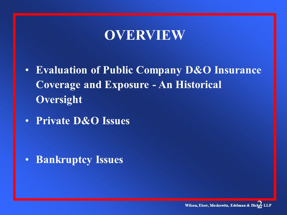 2 OVERVIEW Wilson, Elser, Moskowitz, Edelman & Dicker LLP Evaluation of Public Company D&O Insurance Coverage and Exposure - An Historical Oversight Private D&O Issues Bankruptcy Issues