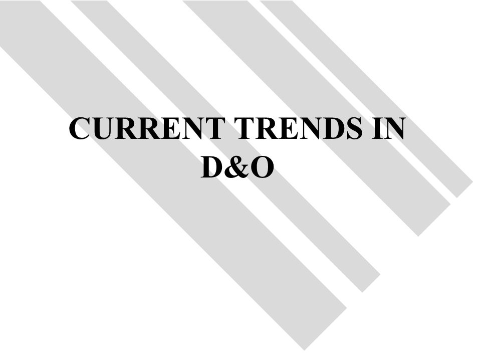 40 CURRENT TRENDS IN D&O