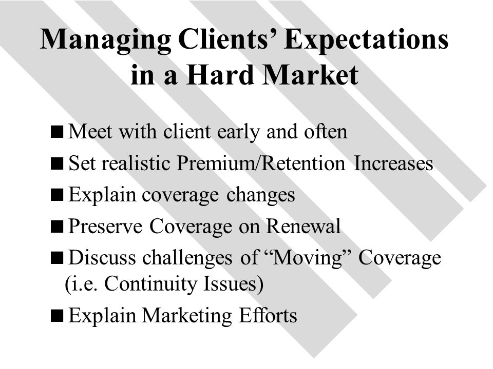 46 Managing Clients' Expectations in a Hard Market  Meet with client early and often  Set realistic Premium/Retention Increases  Explain coverage changes  Preserve Coverage on Renewal  Discuss challenges of Moving Coverage (i.e.
