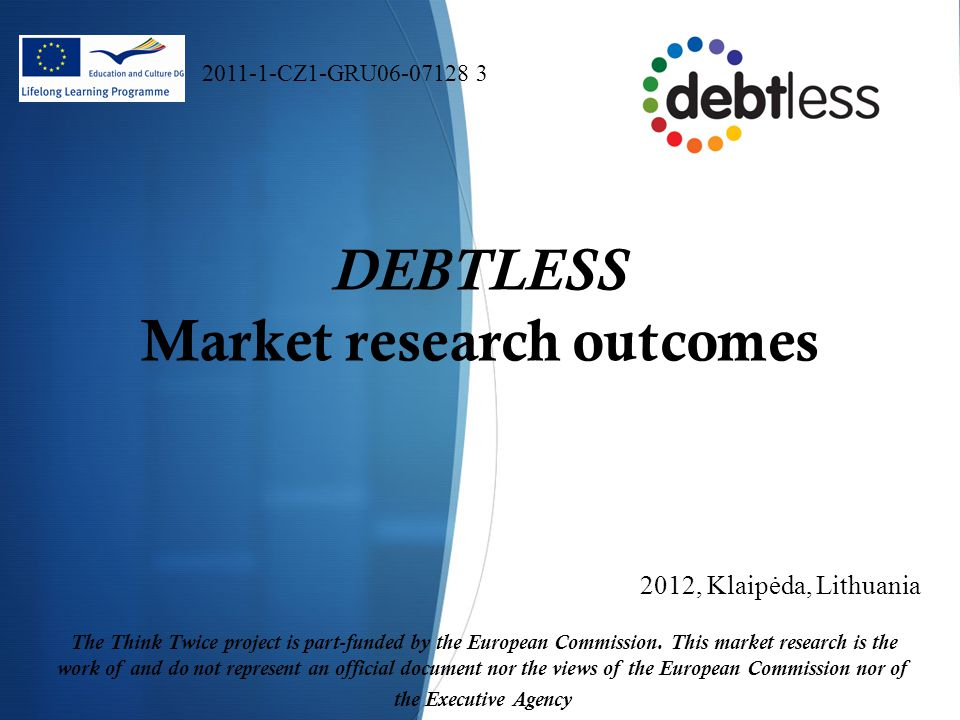 DEBTLESS Market research outcomes 2012, Klaipėda, Lithuania The Think Twice project is part-funded by the European Commission.