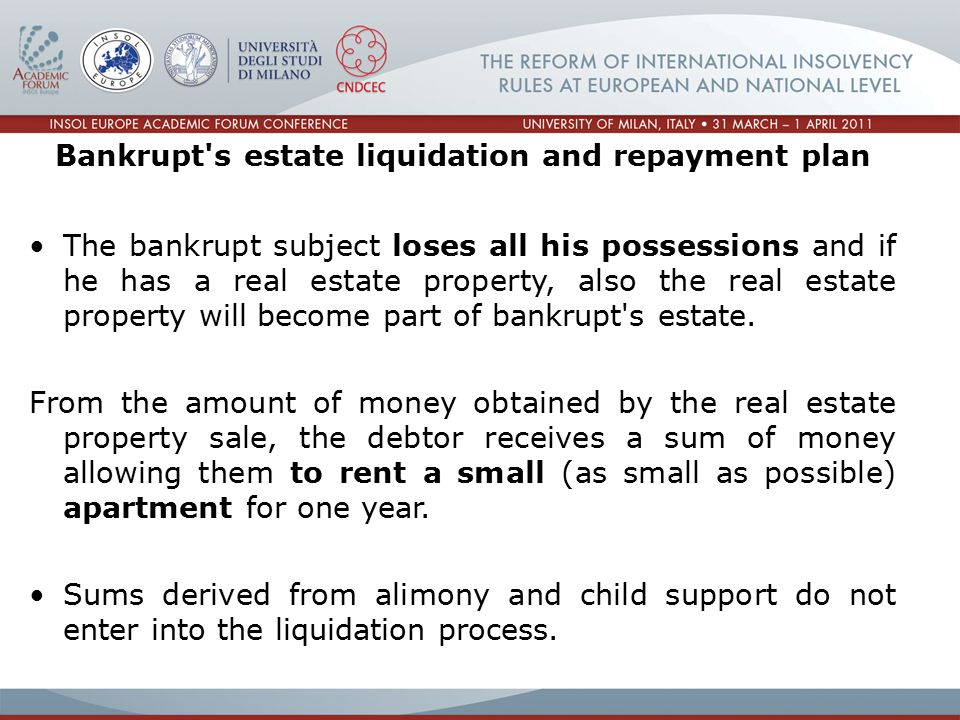 Bankrupt s estate liquidation and repayment plan The bankrupt subject loses all his possessions and if he has a real estate property, also the real estate property will become part of bankrupt s estate.