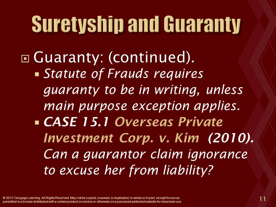  Guaranty: (continued).
