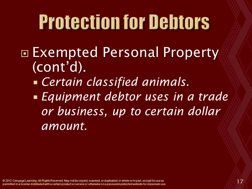  Exempted Personal Property (cont'd).  Certain classified animals.