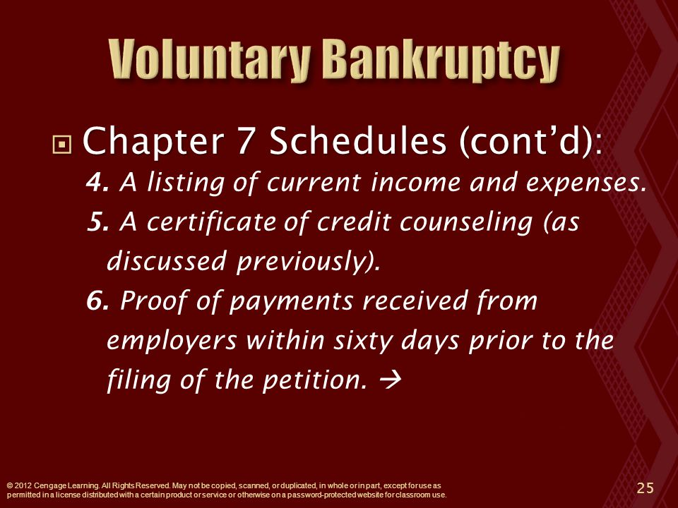  Chapter 7 Schedules (cont'd): 4. A listing of current income and expenses.