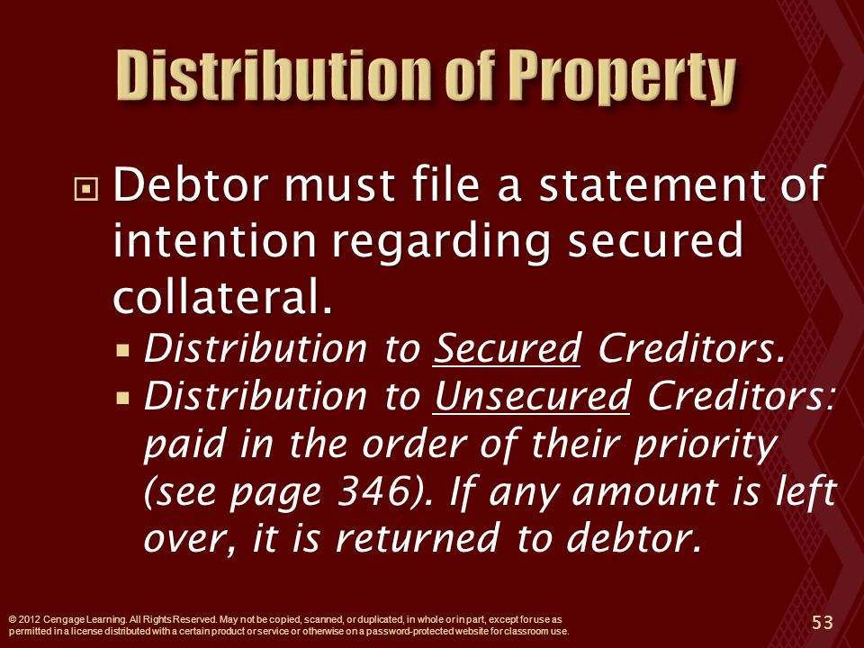  Debtor must file a statement of intention regarding secured collateral.