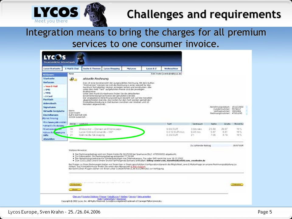 Page 5 Meet you there Lycos Europe, Sven Krahn – 25./26.04.2006 Integration means to bring the charges for all premium services to one consumer invoice.