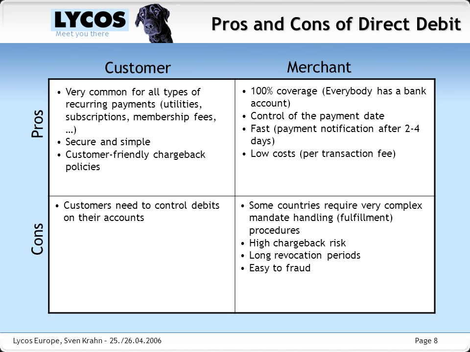 Page 8 Meet you there Lycos Europe, Sven Krahn – 25./26.04.2006 Pros and Cons of Direct Debit Customer Merchant Pros Cons 100% coverage (Everybody has a bank account) Control of the payment date Fast (payment notification after 2-4 days) Low costs (per transaction fee) Very common for all types of recurring payments (utilities, subscriptions, membership fees, …) Secure and simple Customer-friendly chargeback policies Some countries require very complex mandate handling (fulfillment) procedures High chargeback risk Long revocation periods Easy to fraud Customers need to control debits on their accounts