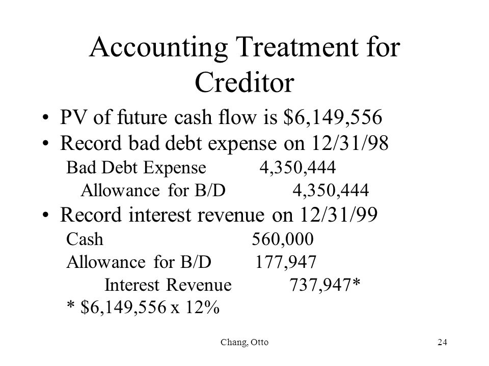 Chang, Otto24 Accounting Treatment for Creditor PV of future cash flow is $6,149,556 Record bad debt expense on 12/31/98 Bad Debt Expense 4,350,444 Al