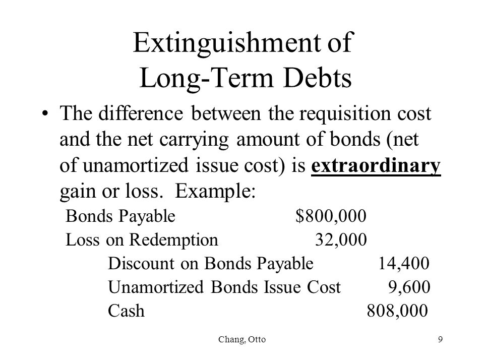 Chang, Otto9 Extinguishment of Long-Term Debts The difference between the requisition cost and the net carrying amount of bonds (net of unamortized is