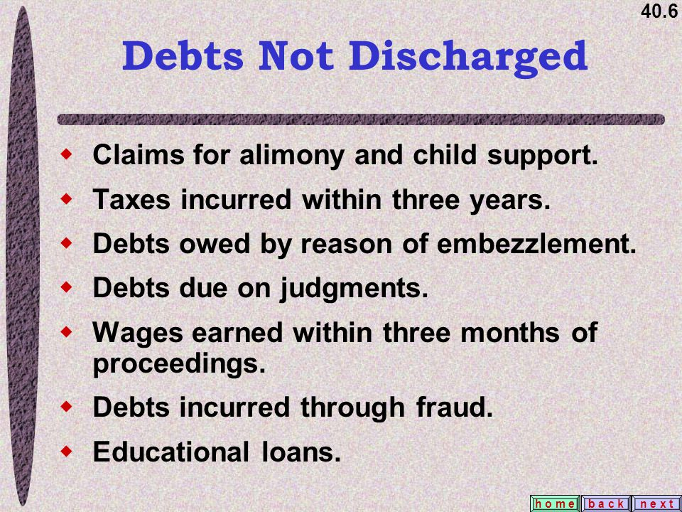 40.6 b a c kn e x t h o m e Debts Not Discharged  Claims for alimony and child support.  Taxes incurred within three years.  Debts owed by reason o