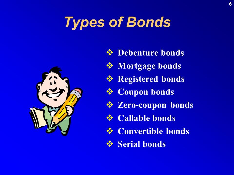 6  Debenture bonds  Mortgage bonds  Registered bonds  Coupon bonds  Zero-coupon bonds  Callable bonds  Convertible bonds  Serial bonds Types of Bonds