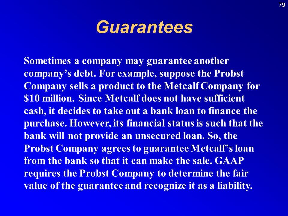 79 Guarantees Sometimes a company may guarantee another company's debt.