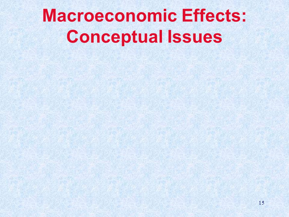 15 Macroeconomic Effects: Conceptual Issues