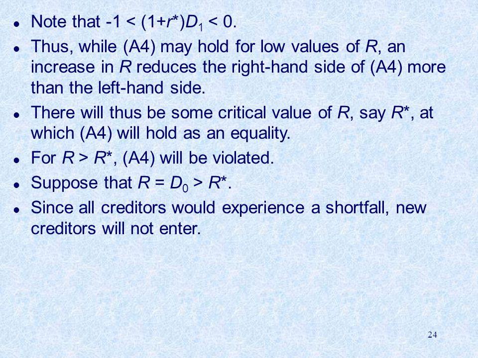 24 l Note that -1 < (1+r*)D 1 < 0.