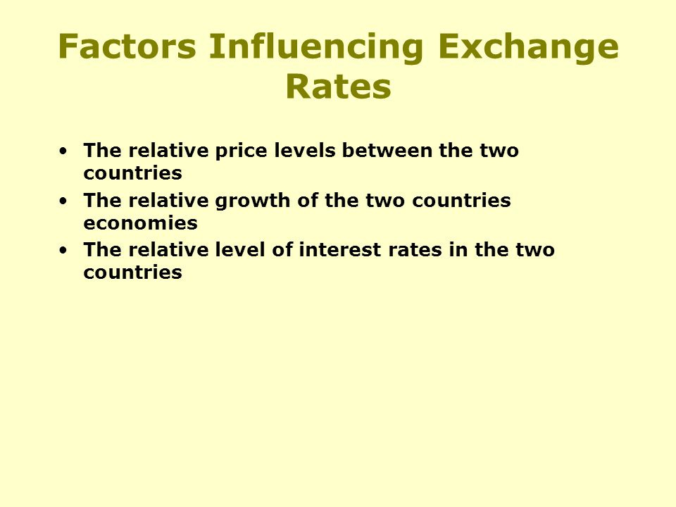 The relative price levels between the two countries The relative growth of the two countries economies The relative level of interest rates in the two countries Factors Influencing Exchange Rates