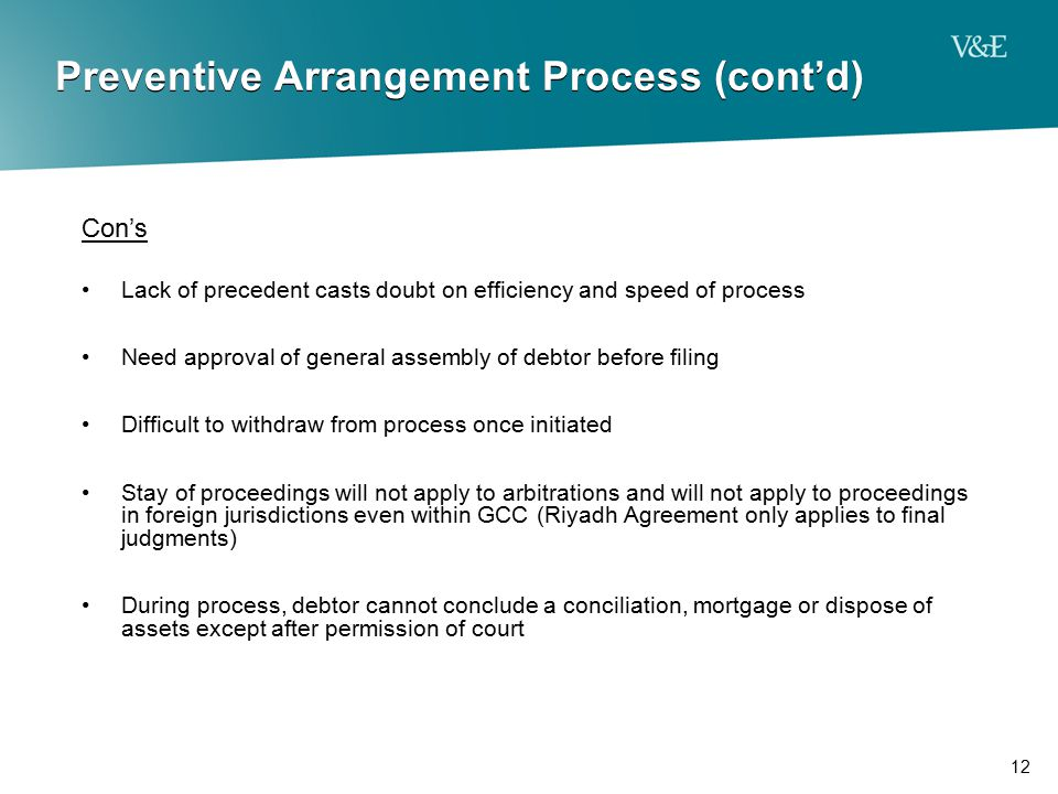 12 Preventive Arrangement Process (cont'd) Con's Lack of precedent casts doubt on efficiency and speed of process Need approval of general assembly of