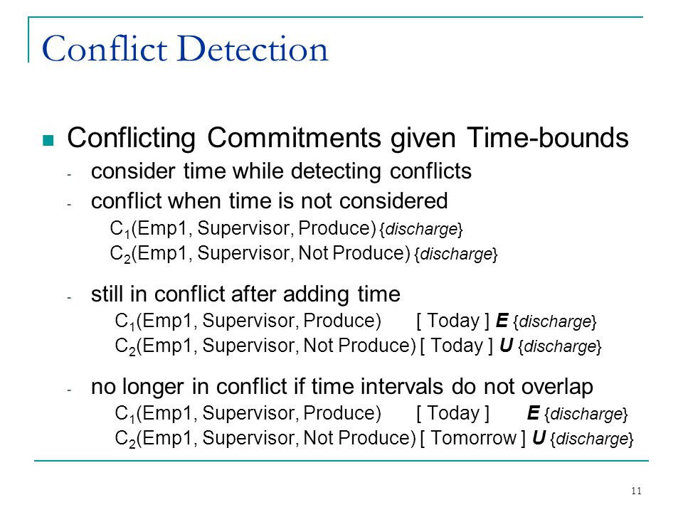 11 Conflict Detection Conflicting Commitments given Time-bounds - consider time while detecting conflicts - conflict when time is not considered C 1 (