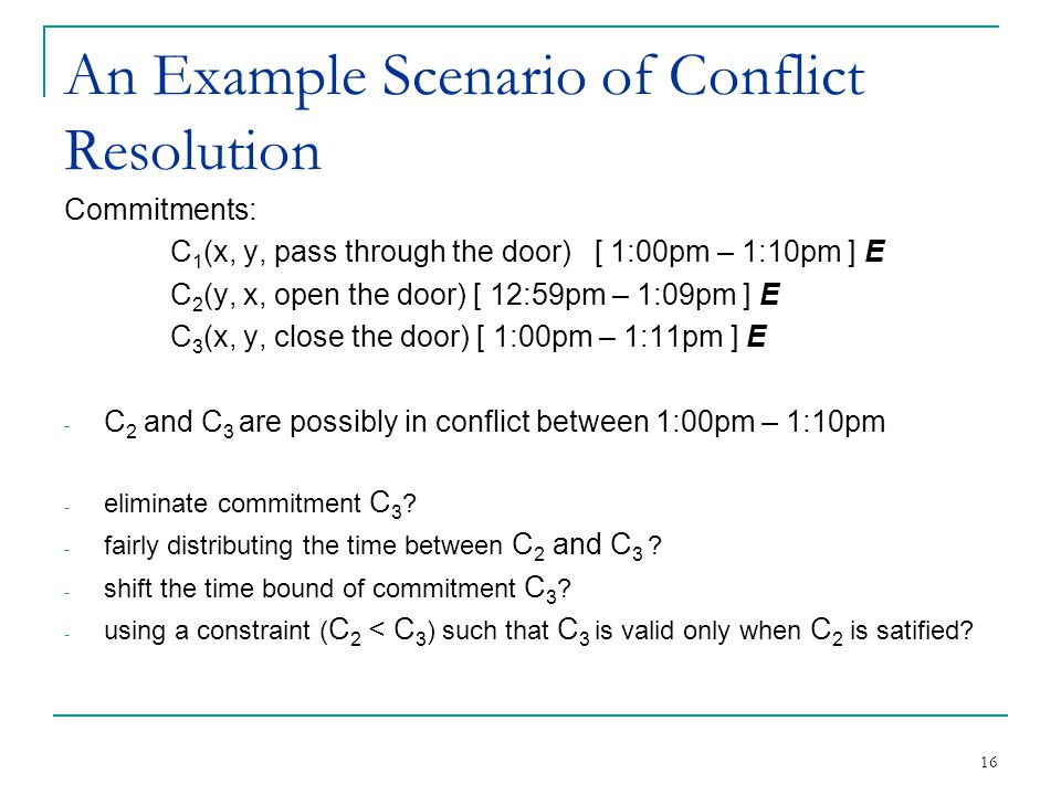 16 An Example Scenario of Conflict Resolution Commitments: C 1 (x, y, pass through the door) [ 1:00pm – 1:10pm ] E C 2 (y, x, open the door) [ 12:59pm