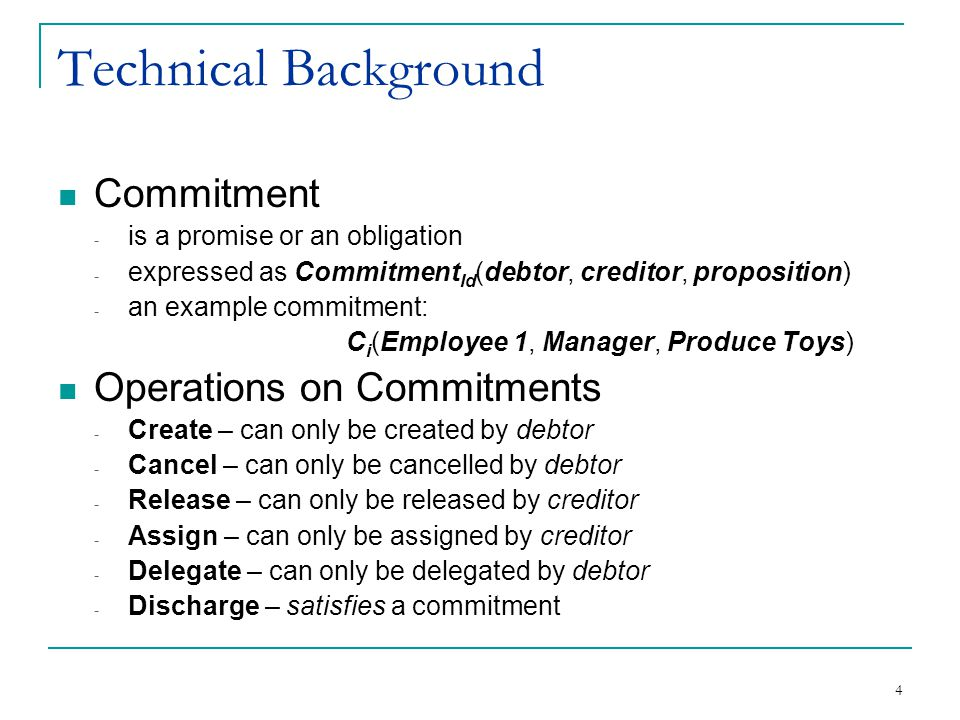 5 Technical Background - Commitment Graph C 1 (Emp1, Supervisor, Produce) {cancel, discharge} C 2 (Emp1, Manager, Produce) {cancel, discharge, assign to Supervisor} Step1: RC & D nodes are created D RC