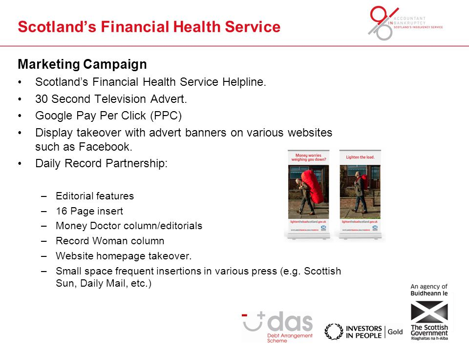 Marketing Campaign Scotland's Financial Health Service Helpline.