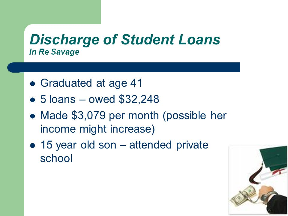 Discharge of Student Loans In Re Savage Graduated at age 41 5 loans – owed $32,248 Made $3,079 per month (possible her income might increase) 15 year old son – attended private school