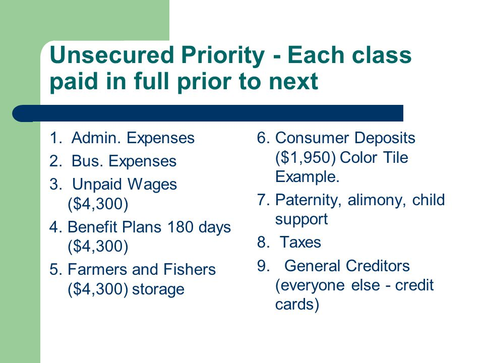 Unsecured Priority - Each class paid in full prior to next 1.