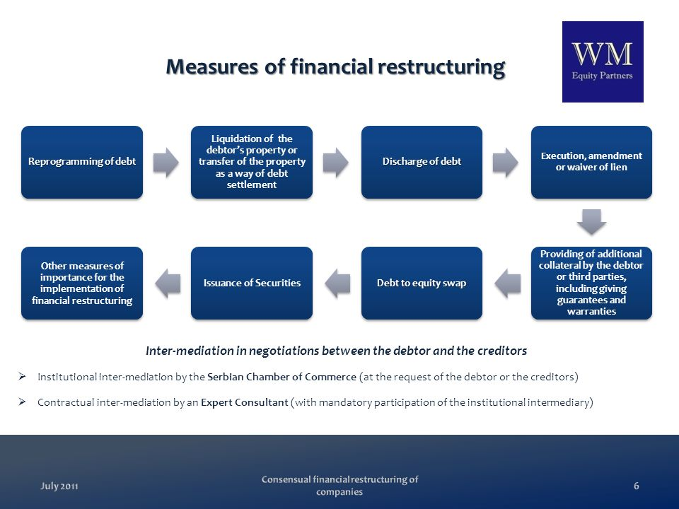 Comparison between consensual financial restructuring and bankruptcy reorganization Consensual Financial RestructuringBankruptcy Reorganization Does not affect the reputation of the debtor Bankruptcy proceedings significantly affect the reputation of the debtor Voluntary procedure, written consent of every creditor is mandatory A majority of 50% of creditors in each class is required for the adoption of the Plan, so the Plan can be crammed down onto the disagreeing creditors CheaperMore expensive Based on trust and useful for deepening of business relationships and development of better business culture All the parties are usually hostile to each other because everyone wants to gain more No interference by the judiciary or the administrationCourts and bankruptcy trustees No advance paymentsAdvance payments Financial projections are optionalFinancial projections are mandatory The Chamber of Commerce and the Expert Consultant are the intermediaries in negotiations between the debtor and the creditors The debtor usually directly negotiates with the creditors If the debtor fails to fulfill his obligations under the Financial Restructuring Agreement, he may be liable for damages If the debtor fails to fulfill his obligations under the Reorganization Plan, he may be liquidated instead of reorganized Voluntarily Obligingness July 2011 Consensual financial restructuring of companies 7