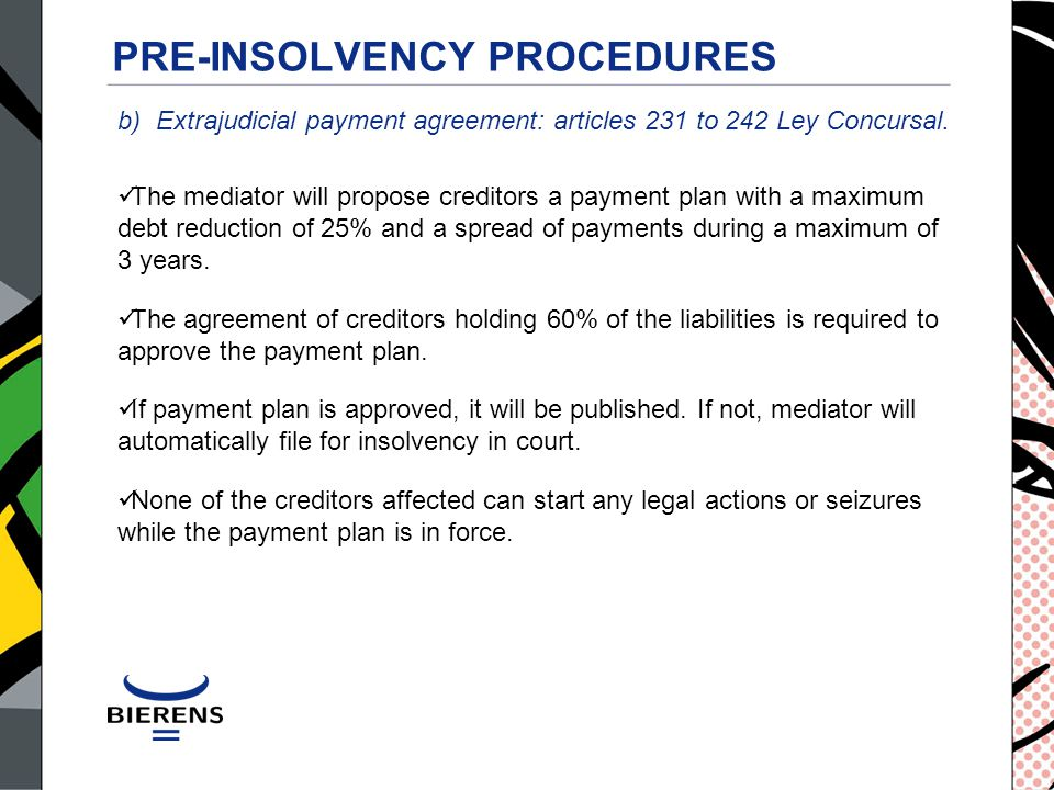 PRE-INSOLVENCY PROCEDURES b) Extrajudicial payment agreement: articles 231 to 242 Ley Concursal.