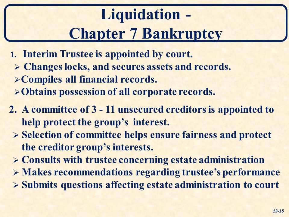 Liquidation - Chapter 7 Bankruptcy 13-15 1. 1. Interim Trustee is appointed by court.   Changes locks, and secures assets and records.   Compiles