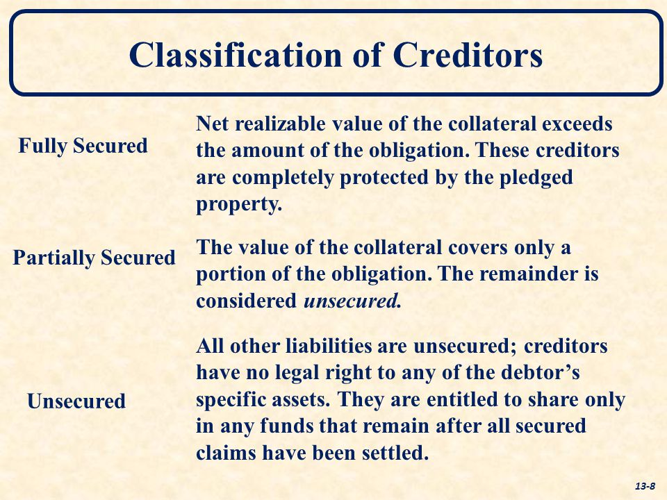 Fully Secured Partially Secured Unsecured Classification of Creditors 13-8 Net realizable value of the collateral exceeds the amount of the obligation